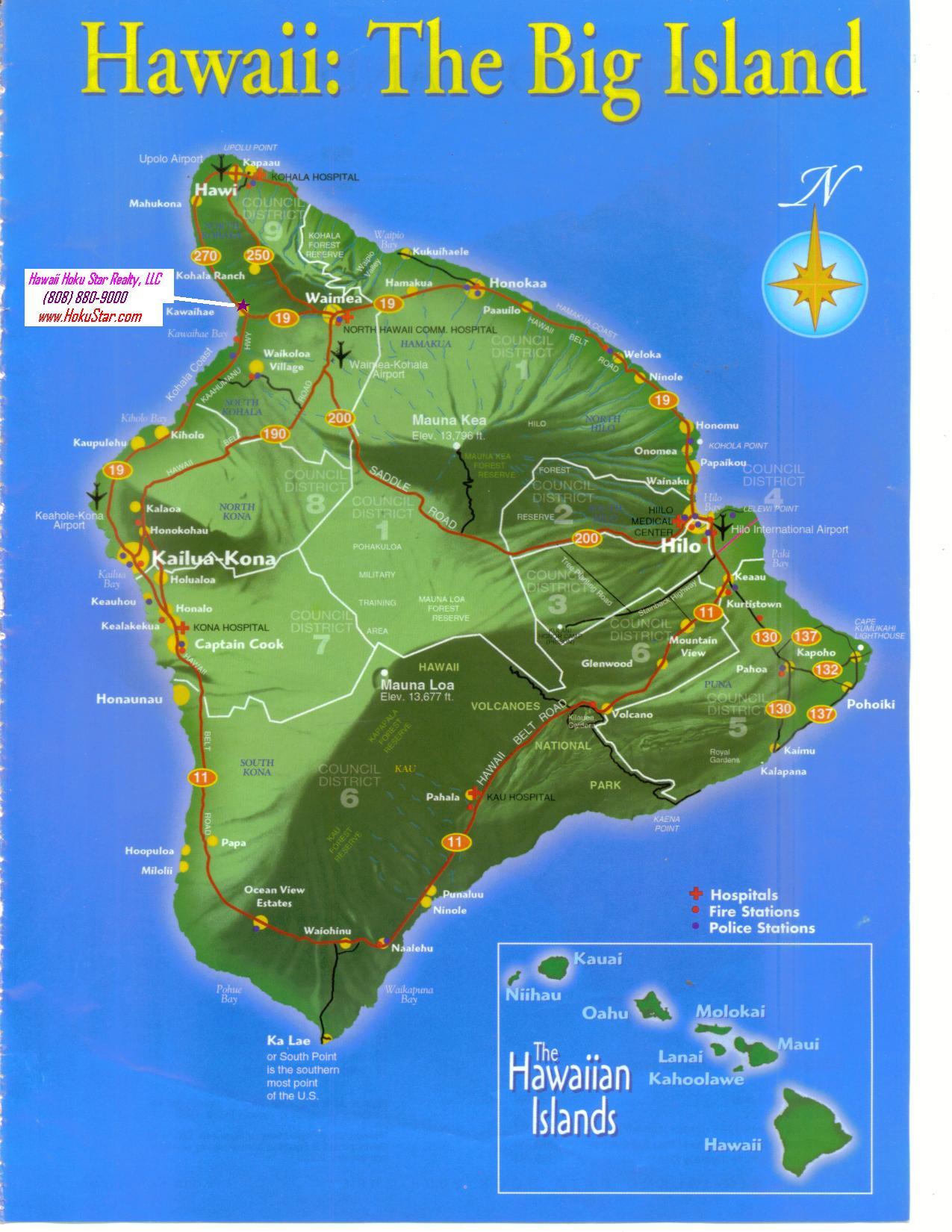 Hawaii big island map road